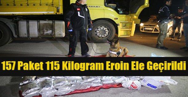 157 paket halinde 115 kilogram eroin ele geçirildi