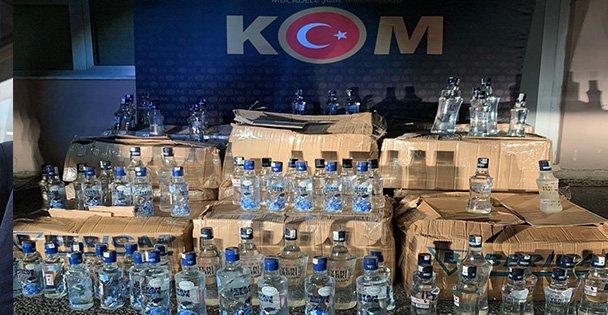 480 şişe kaçak içki ele geçirildi