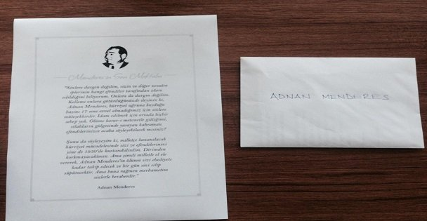 AK Gençler Menderes'in mektubunu dağıttı