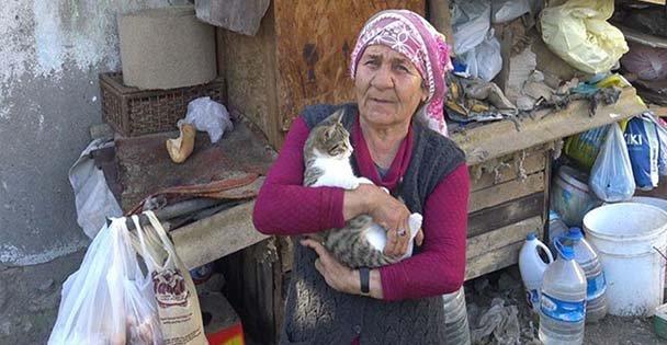 Barakası yanan yaşlı kadından yardım talebi