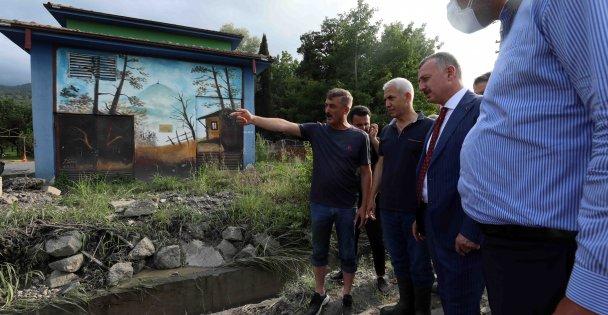 Başkan Büyükakın, yaşanan su baskının ardından Maşukiye'de inceleme yaptı