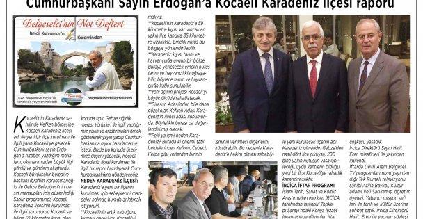 Cumhurbaşkanı Sayın Erdoğan'a Kocaeli Karadeniz İlçesi Raporu