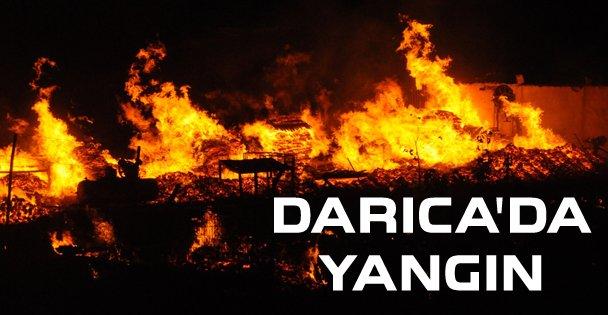 Darıca'da palet imalathanesinde yangın