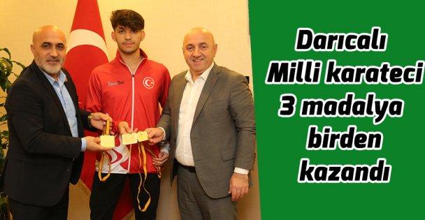 Darıcalı Milli karateci 3 madalya birden kazandı