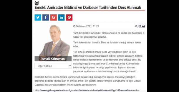 Emekli Amiraller Bildirisi ve Darbeler Tarihinden Ders Alınmalı
