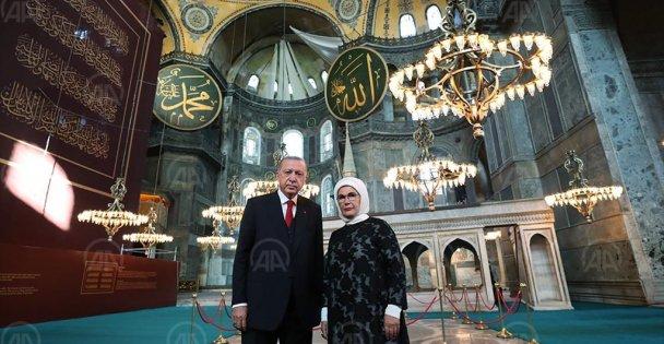 Erdoğan, Ayasofya'da inceleme yaptı