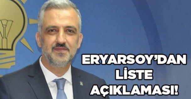 Eryarsoy'dan liste açıklaması