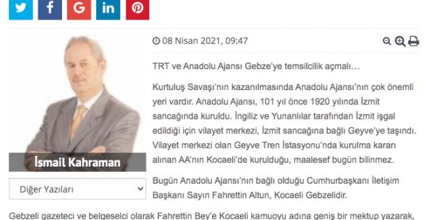 İletişim Başkanı Fahrettin Bey'e TRT ve Anadolu Ajansı Mektubu