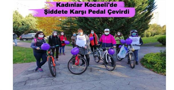Kadınlar Kocaeli'de Şiddete Karşı Pedal Çevirdi