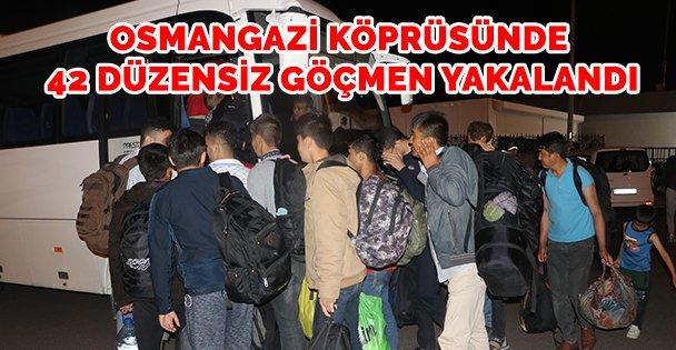Osmangazi Köprüsü'nde 42 düzensiz göçmen yakalandı