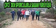 Çiftçiden sporcularla sabah yürüyüşü