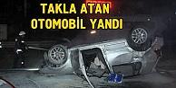 Takla atan otomobil yandı: 1 ağır yaralı
