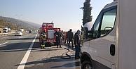 Mobilya yüklü kamyonette çıkan yangın söndürüldü
