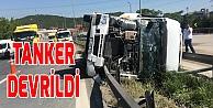 Anadolu Otoyolunda tanker devrildi