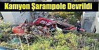 Kamyon Şarampole Devrildi..