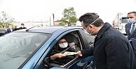 Vali Aksoy, trafik kontrol noktasını ziyaret etti