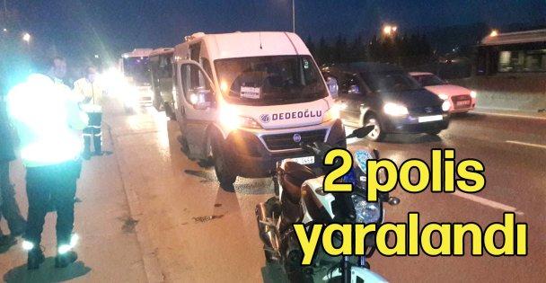 Trafik kazasında 2 polis yaralandı