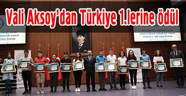 Vali Aksoy'dan Türkiye 1.lerine ödül
