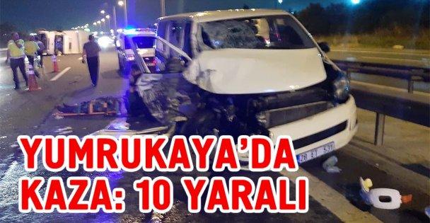Yumrukaya'da trafik kazası: 10 yaralı